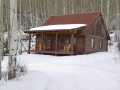 The Guest Cabins in Winter at Sanchester Ridge